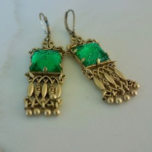 Emerald and Gold Chandelier Earrings